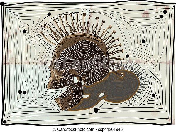 punk skull - vector, hand drawn lines. - csp44261945