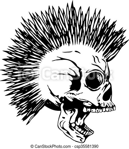 Vector Illustration Punk Skull With Mohawk For T Shirt Or