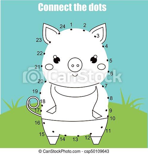Punkte, erzieherisch, tiere, printable, game., schwein, verbinden ...