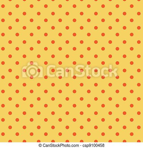 punkte, orange, polka, seamless, gelber  - csp9100458