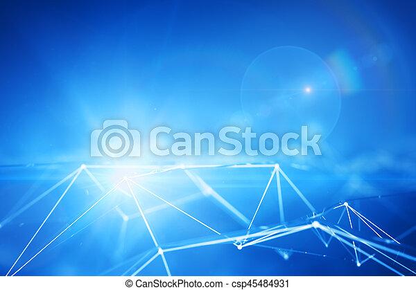 punkter, forbundet, blå - csp45484931