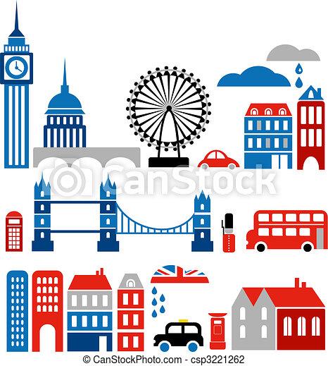 punkty orientacyjny, wektor, londyn, ilustracja - csp3221262