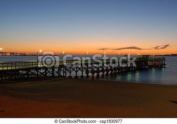 punta, del, 浜, 桟橋, este - csp1830977
