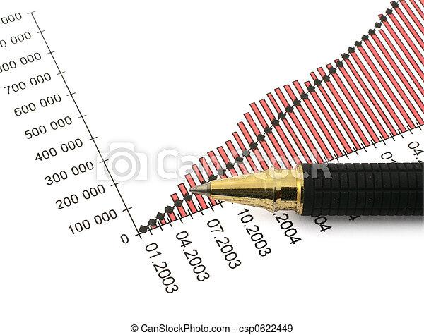 punta, grafico, #3, affari, penna - csp0622449