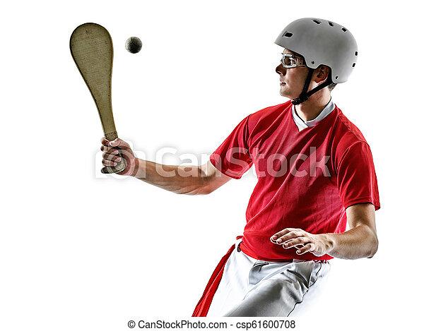 punta, pelota, alai, cesta, freigestellt, spieler, si, baske, pala, jai, mann - csp61600708
