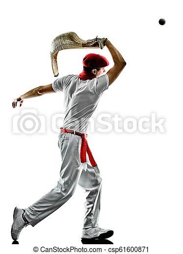punta, pelota, silhouet, alai, cesta, freigestellt, spieler, baske, jai, mann - csp61600871