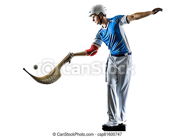 Jai alai basque pelota cesta punta player man isoliert silhouet - csp61600747