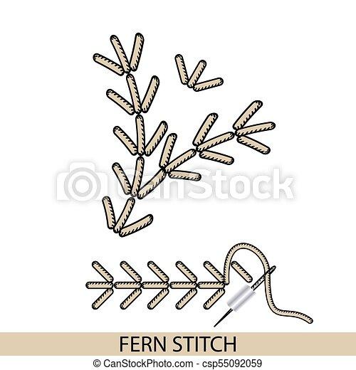 Puntos fern stich tipo vector. Colección de bordado de mano de hilo y puntos de costura. El vector ilustra los ejemplos de sutura. - csp55092059