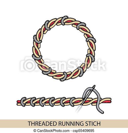 Costuras STEM stich tipo vector. Colección de bordado de mano de hilo y puntos de costura. El vector ilustra los ejemplos de sutura. - csp55409695