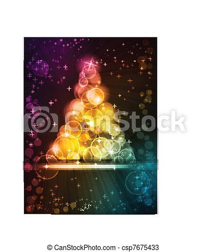 punten, gemaakt, kleurrijk licht, boompje, sterretjes, kerstmis - csp7675433