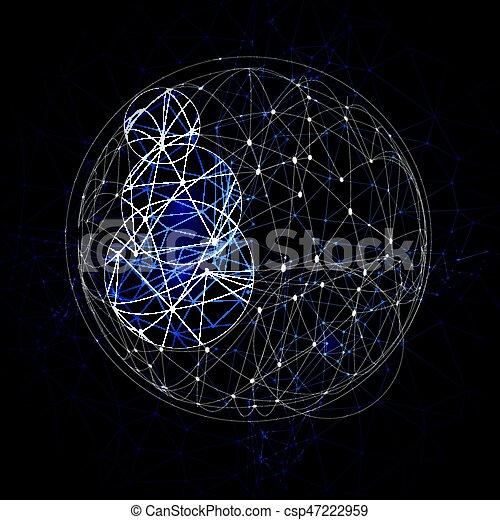 punti, 1804, astratto, poly, sfera, connettere, basso - csp47222959