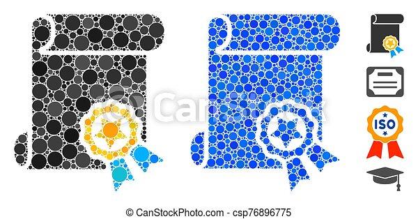 punti, icona, mosaico, certificato, cerchio - csp76896775