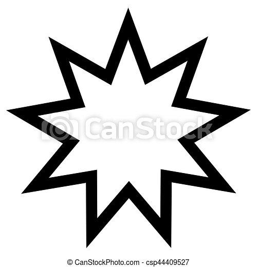 Señal religiosa. Fe Bahai. Nueve estrellas puntiagudas. Formador de vectores. - csp44409527