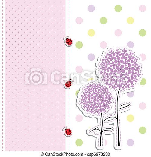 puntino, scheda, fondo, coccinella, disegno, fiore, viola, polka - csp6973230