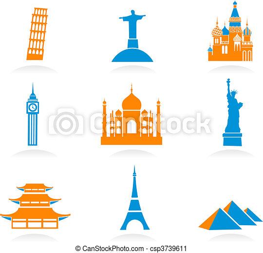punto di riferimento, internazionale, icone - csp3739611