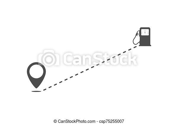 punto, relleno, stations., icono, ruta - csp75255007