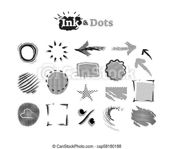 puntos, accents., gráfico, resumen, colección, halftone, elementos, diseño, tinta, garabato - csp58180188