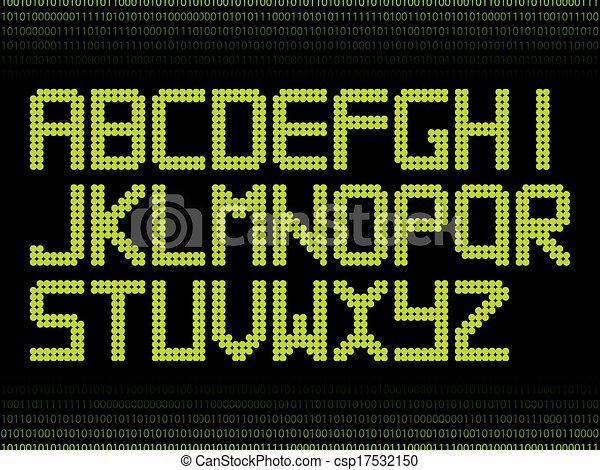 puntos, alfabeto, verde - csp17532150