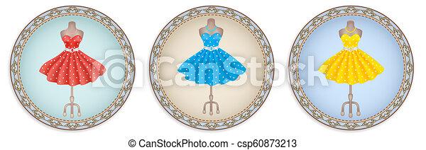 Pon etiquetas o etiquetas con imagen de vestido de moda en lunares de estilo retro - csp60873213