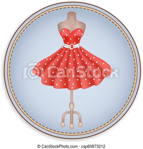 Etiqueta o etiqueta con imagen de vestido rojo de moda en lunares en estilo retro - csp60873212