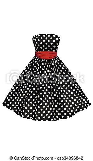 Vestido negro con puntos