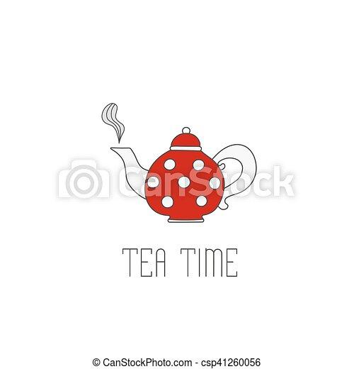 Polka tetera con té sobre fondo blanco. Meses de té - csp41260056