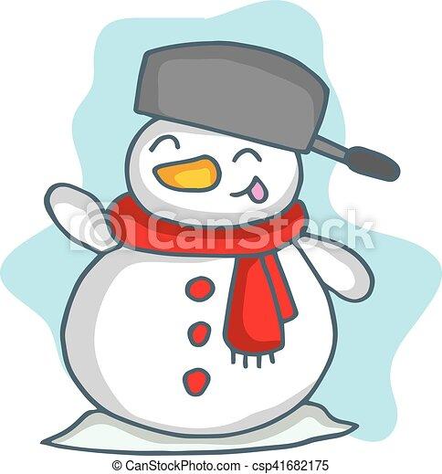 Pupazzo di neve cartone animato sciarpa natale pupazzo - Cartone animato natale agrifoglio di natale ...