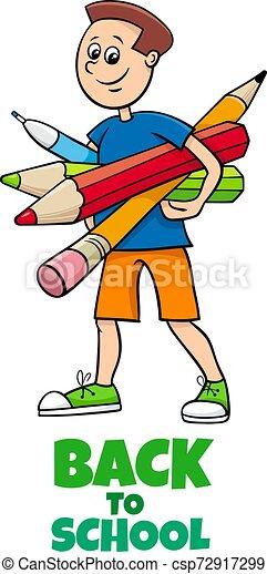 pupil boy back to school cartoon illustration - csp72917299