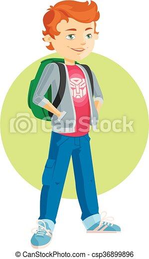 pupil boy cartoon flat - csp36899896