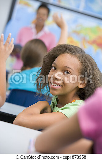 Pupil in elementary school classroom - csp1873358