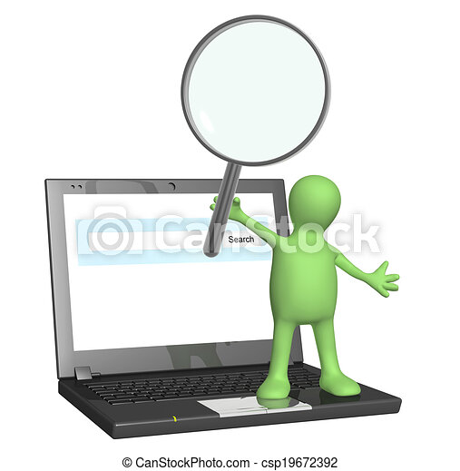 Puppet with magnifier and laptop - csp19672392