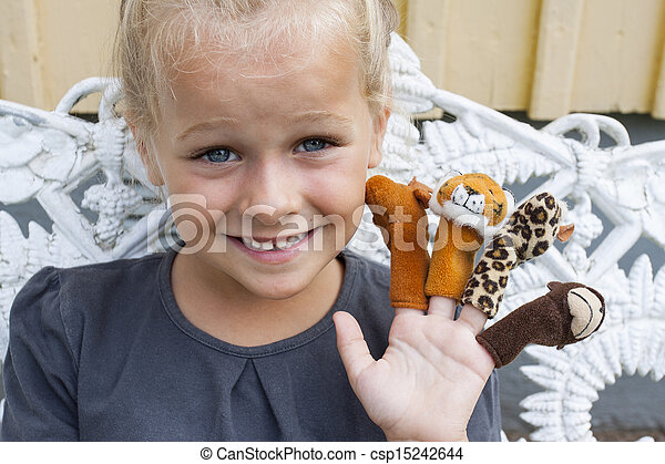puppets, finger, barn - csp15242644