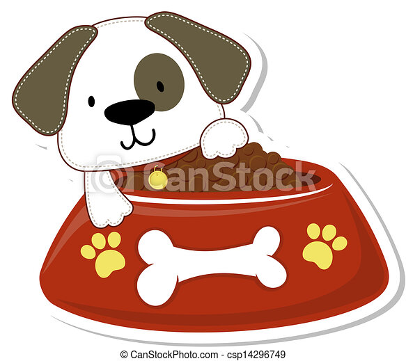 puppy and too much food cartoon illustration of adorable eps rh canstockphoto com Dog- Walking Clip Art Feed Dog Clip Art