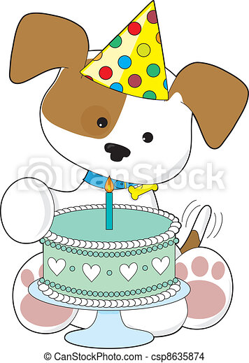 Puppy birthday cake A cute little puppy wearing a party eps