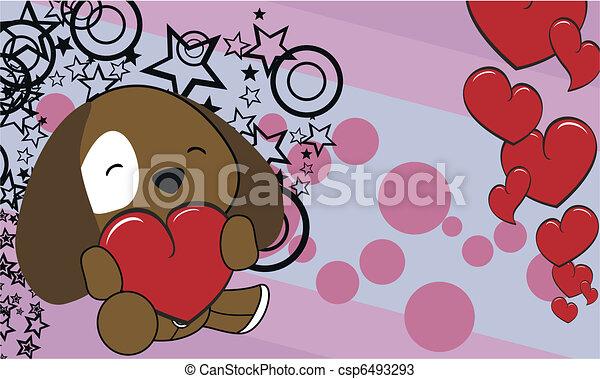 Line Art Valentine : Puppy cartoon valentine background in vector format vectors search