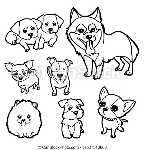 Image Of Puppy Coloring Book Set Vector. CanStock