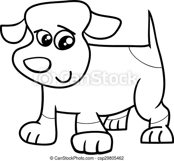 Clip Art Vector Of Puppy Dog Cartoon Coloring Book