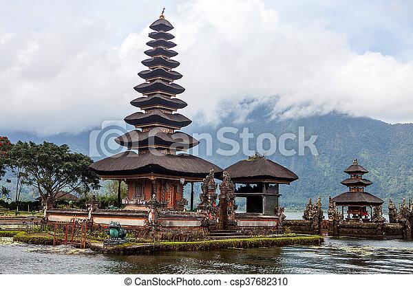Pura Ulun Danu Bratan, Hindu temple on lake, Bali - csp37682310
