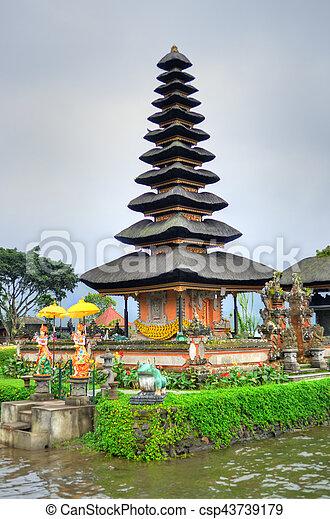 Pura Ulun Danu Bratan, Hindu temple on Bratan lake, Bali, Indonesia - csp43739179