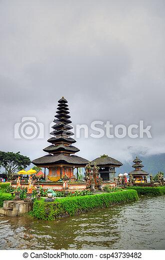 Pura Ulun Danu Bratan, Hindu temple on Bratan lake, Bali, Indonesia - csp43739482