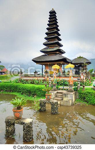 Pura Ulun Danu Bratan, Hindu temple on Bratan lake, Bali, Indonesia - csp43739325