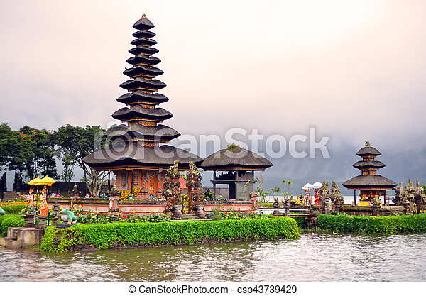 Pura Ulun Danu Bratan, Hindu temple on Bratan lake, Bali, Indonesia - csp43739429