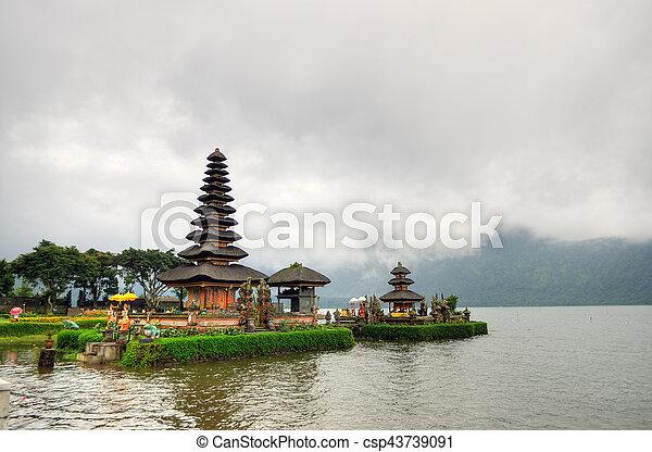 Pura Ulun Danu Bratan, Hindu temple on Bratan lake, Bali, Indonesia - csp43739091