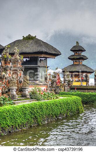 Pura Ulun Danu Bratan, Hindu temple on Bratan lake, Bali, Indonesia - csp43739196