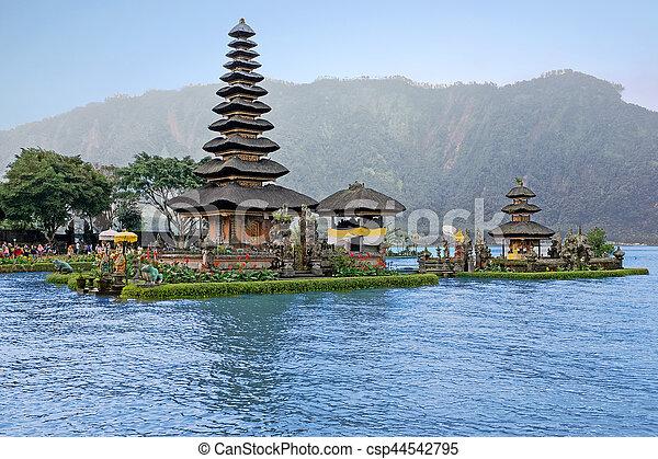 Pura Ulun Danu Bratan, Hindu temple on Bratan lake, Bali, Indonesia - csp44542795