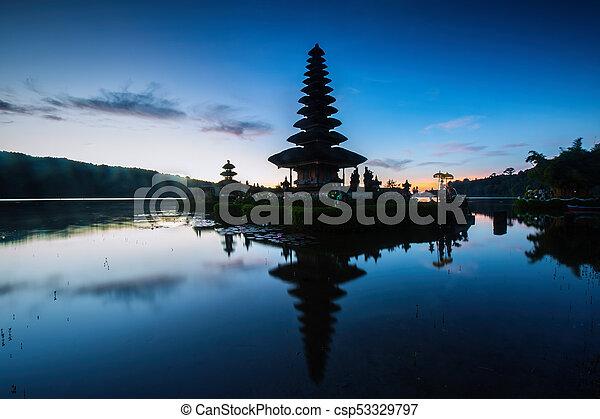 Pura Ulun Danu Bratan, Hindu temple on Bratan lake, Bali, Indonesia - csp53329797