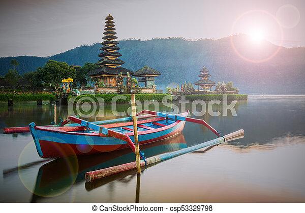 Pura Ulun Danu Bratan, Hindu temple on Bratan lake, Bali, Indonesia - csp53329798
