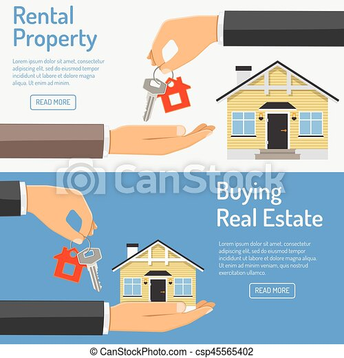 purchase and rental real estate banners hand giving home keys in
