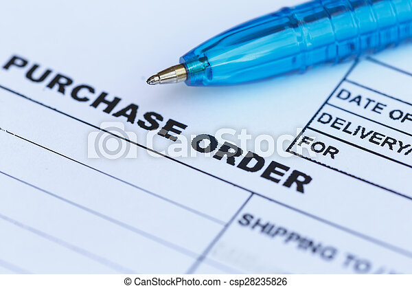 purchase order with blue pen in the office? - csp28235826