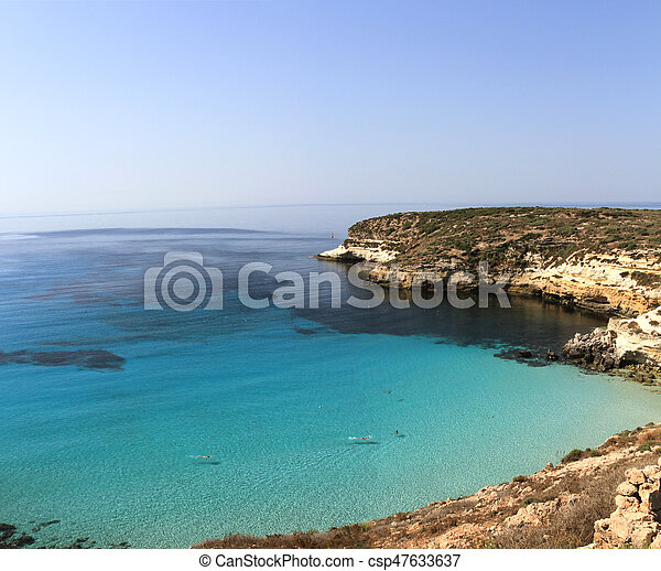 Pure Crystalline Water Surface Around An Island Lampedusa Sicily